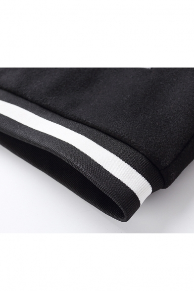 Chic Color Block Print Long Sleeve Stand-Up Collar Baseball Jacket