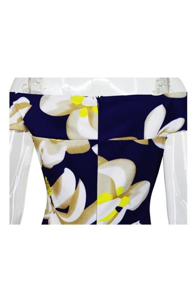 Chic Floral Print Off Shoulder Short Sleeve Fishtail Dress
