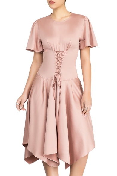 Chic Simple Plain Crosscrioss Front Asymmetric Hem Short Sleeve Midi Dress