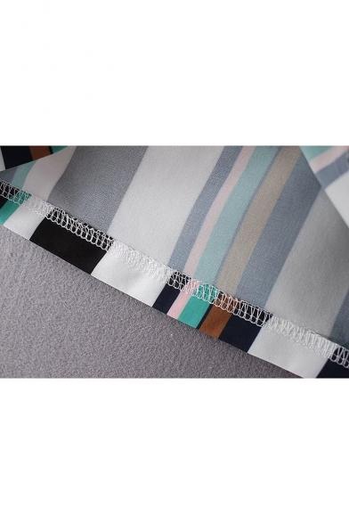 Chic Striped V-Neck Ruffle Long Sleeve Pencil Mini Dress