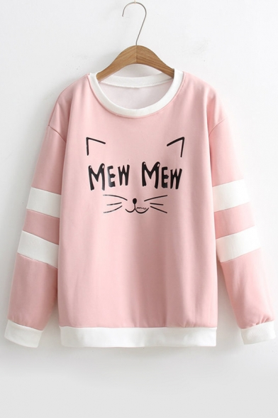 Cute Cat Purr Face Cartoon Letter Printed Striped Round Neck Long Sleeves Pullover Sweatshirt