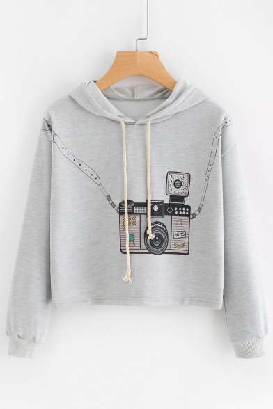 Camera Print Cropped Drawstring Sleeve Hoodie Hood Fashion Long xw5PpHxq