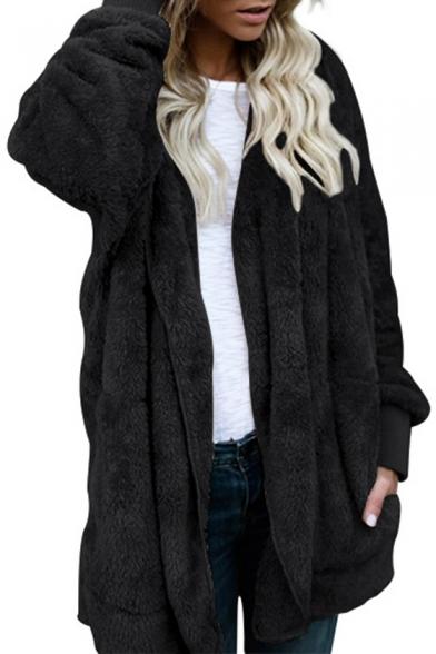 Fashionable Open Front Long Sleeves Hooded Longline Faux Fur Fluffy Coat
