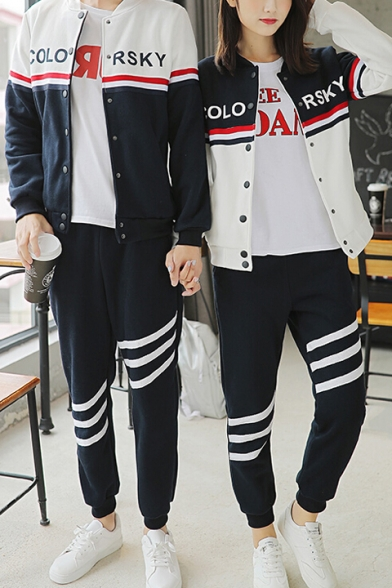 Fashionable Unisex Letter Color Block Long Sleeves Button-Down Baseball Jacket with Striped Joggers
