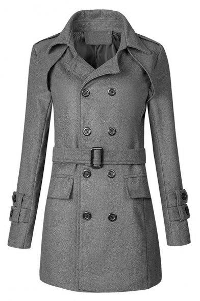 Formal Notched Lapel Double Breasted Long Sleeves Belted Longline Coat with Flap-Pockets
