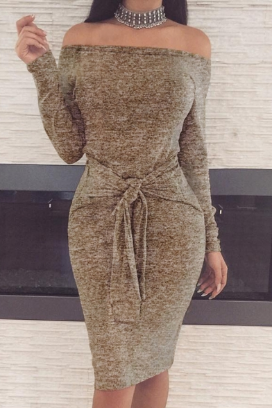 Baycheer / Ladylike Off the Shoulder Long Sleeves Bodycon Bow Belted Pencil Midi Dress