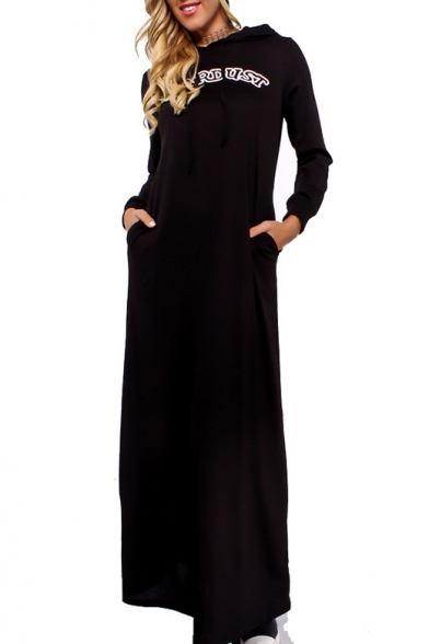 Leisure Letter Print Long Sleeve Hooide Maxi Dress