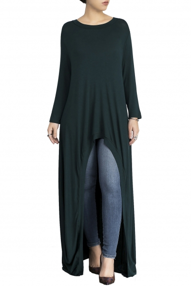 Leisure Round Neck Long Sleeves Loose Draped Dipped Hem Maxi T-shirt Dress