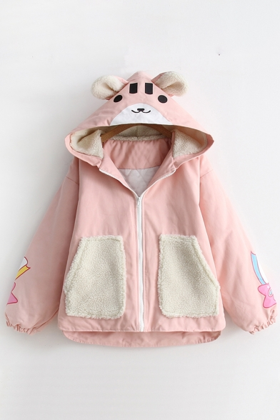 Lovely Cartoon Bear Print Long Sleeve Contrast Pocket Zipper Hooded Coat