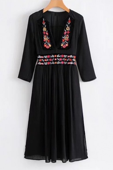Plunge New Embroidery Dress Style Long Floral Sleeve Neck Design Midi Tribal B7qIw7rgX