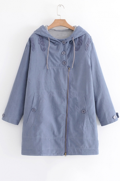 New Fashion Embroidered Long Sleeve Zip Up Hooded Coat