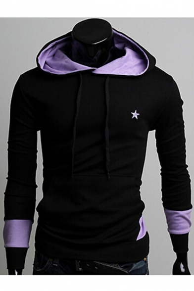 Long New Block Sleeve Color Hoodie Star Print Stylish Leisure rXqpXfwv
