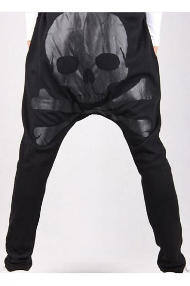 New Stylish Skull Print Drawstring Waist Harem Pants