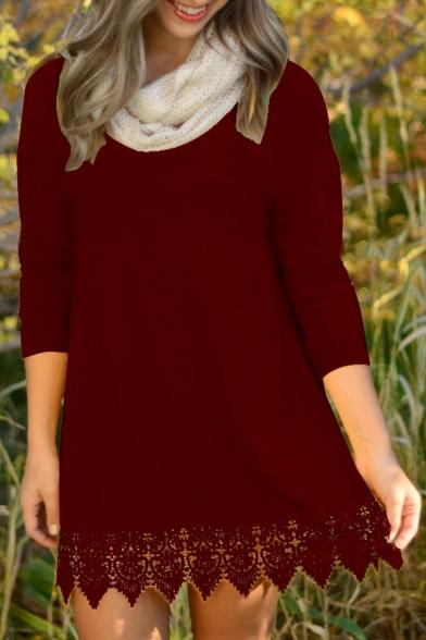 Long Panel Neck Simple Lace Sleeve Plain New Mini Dress Round Trendy Hem qOpWnxtA