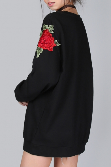 Loose Neck Floral Pullover Long Embroidered Simple Round Sleeves Sweatshirt z6wPBx