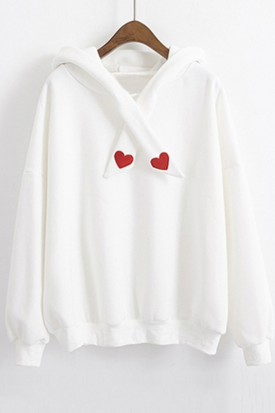 Simple Heart Tie Embroidered Long Front Sleeve Hoodie 8q170fw8