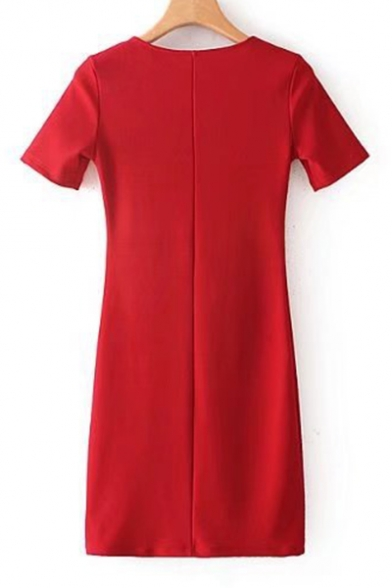 Simple Plain Crisscross V-Neck Short Sleeve Pencil Mini Dress