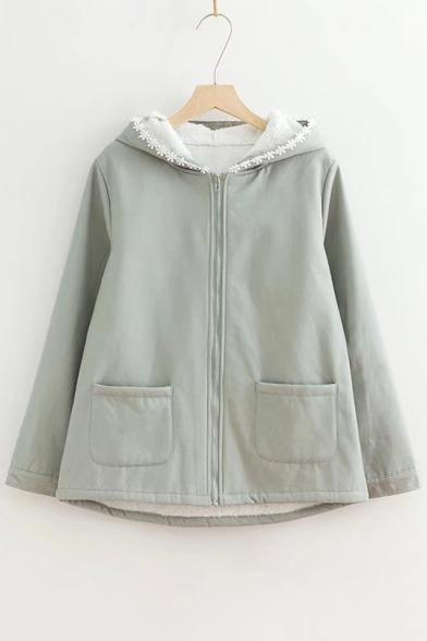 Simple Plain Floral Hem Rabbit Ear Hooded Long Sleeve Zip Up Coat