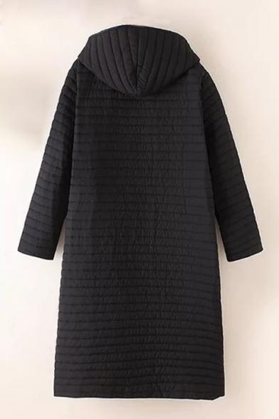 Simple Plain Long Sleeve Single Breasted Hooded Tunic Padded Coat