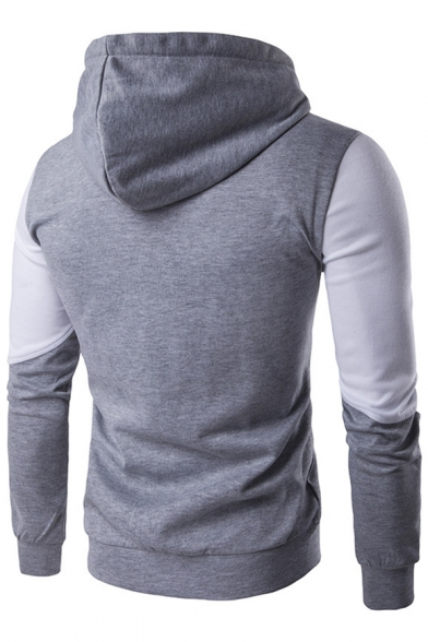 Block Hoodie Sleeves Zippered Pockets Long Sportive Color with 5wOzXxzUn