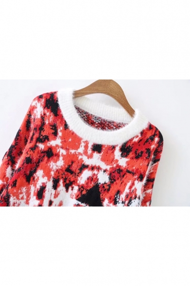 Sleeve Print Pullover Neck Block Color Long Round Sweater Stylish xqZUIpwn