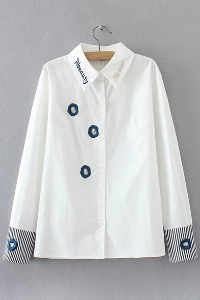 Stylish Lapel Embroidery Button Down Striped Cuffs Long Sleeve Shirt