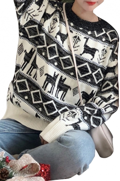 Trendy Geometric Animal Pattern Round Neck Long Sleeves Pullover Ribbed Knitted Sweater
