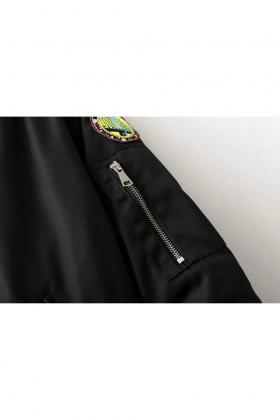 Bomber Zipped Pockets Applique Long Cactus Style Sleeves Zippered with Pineapple Western Jacket v7ZPx