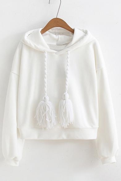 Women's Simple Plain Long Sleeve Cropped Hoodie