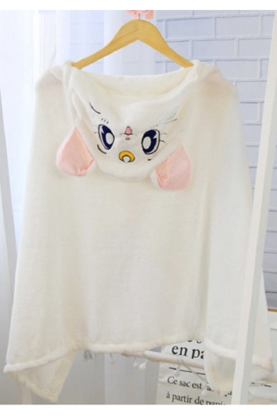 Adorable Cartoon Embroidery Cat Ears Hooded Single Button Front Casual Cape