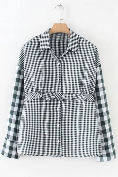 Classic Plaid Print Ruffle Button Down Long Sleeve Lapel Shirt