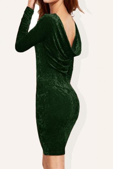 Elegant Boat Neck Draped Back Long Sleeves Slim-Fit Bodycon Mini Velvet Dress