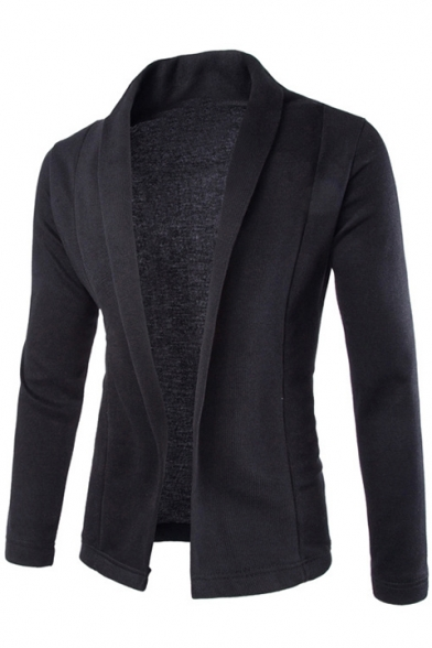 Fabulous Cutting Open Front Lapel Long Sleeves Slim-Fit Plain Coat
