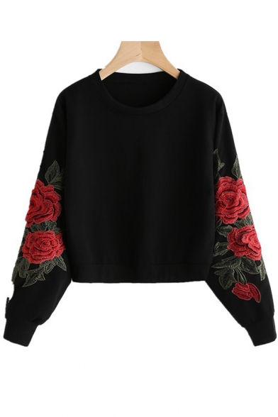 Fancy Floral Embroidered Long Sleeves Round Neck Pullover Cropped Sweatshirt