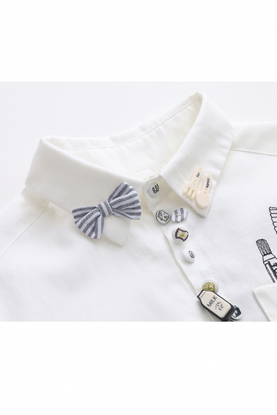 Bow Toothbrush Lapel Down Button Shirt Print Embellished Fashion PxfFwvqf