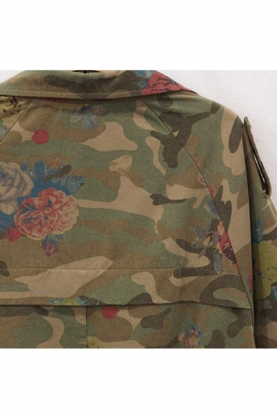 Hot Fashion Camouflage Floral Print Long Sleeve Zipper Jacket