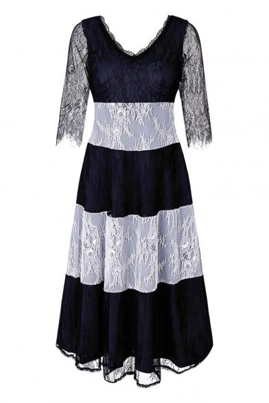 Hot Fashion Color Block Print V-Neck Half Sleeve Lace Panel Dress