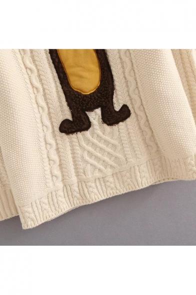 Bear Sweater Pattern Lovely Sleeve Pullover Round Neck Long d0ngn5