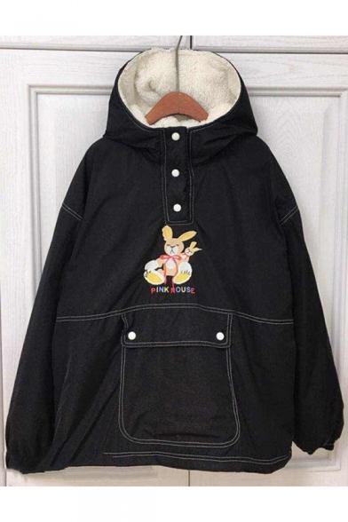 Lovely Cartoon Pattern Button Long Sleeve Hooded Warm Coat
