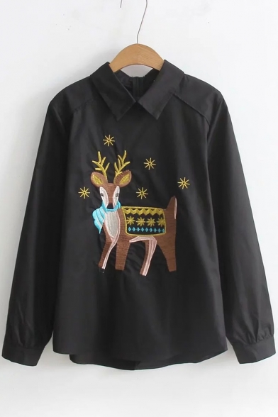 Zipper Embroidered Blouse Lovely Lapel Long Deer Sleeve qUwqxTCn