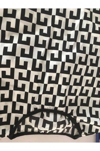 Dress Print Round Neck Short Mini Sleeve Plaid Stylish New vSapxpf