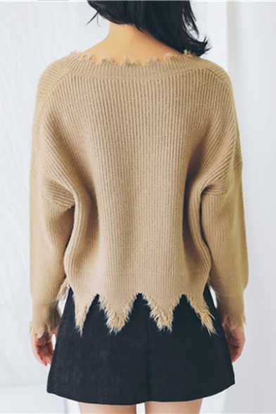 Simple Sweater Long Neck Plain Sleeve V Tassel Trendy New Pullover xfqCwBSX