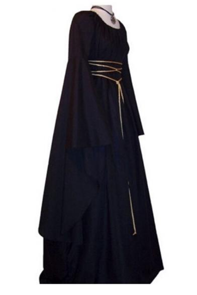 Sexy Cool Crisscross Tie Front Long Sleeve Swing Maxi Dress