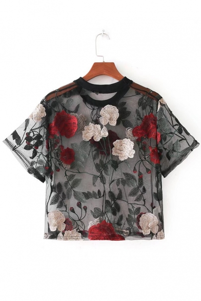 Cropped Mesh Round Floral Tee Neck Embroidered Sexy Sleeve Sheer Short HpRAqSTw