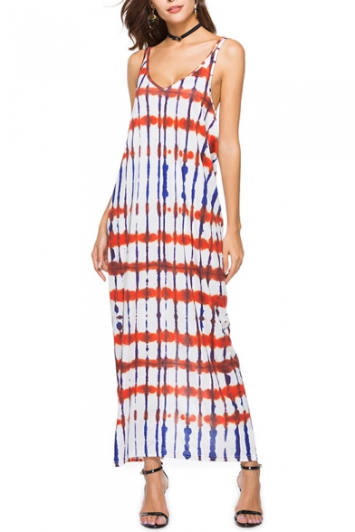 Sexy Open Back Digital Print Maxi Cami Beach Dress