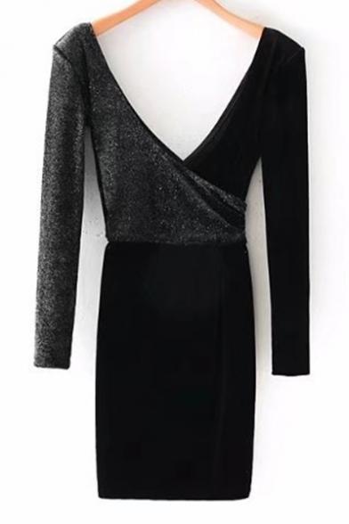 Sexy Plunge Neck V-Back Long Sleeves Velvet Patchwork Wrap Mini Dress