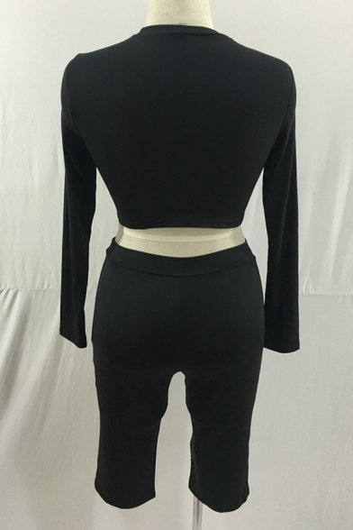 Sexy Slim-Fit Round Neck Long Sleeve Plain Cropped Tee Top with Skinny Cropped Pants