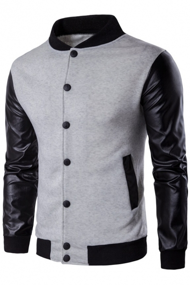 Patchwork Sleeves Contrast Jacket Long Baseball Button Trimmed Simple Down TdYaAWTq