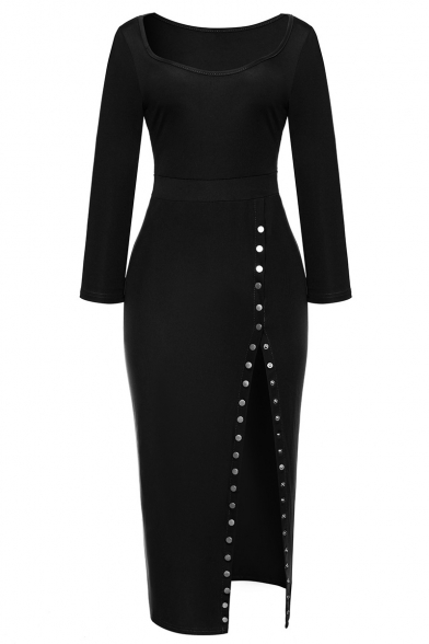 Simple Plain Scoop Neck 3/4 Length Sleeve Split Side Pencil Maxi Dress