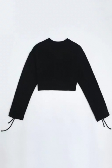 Crew Long Stylish Attached Neck Tee Loose Pullover Sleeves Straps Cropped x6IEOq6